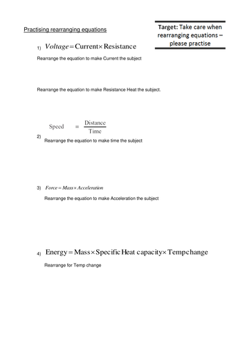 Rearranging equations practice worksheet