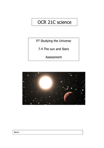 OCR P7.4 The Sun and Stars Assessment