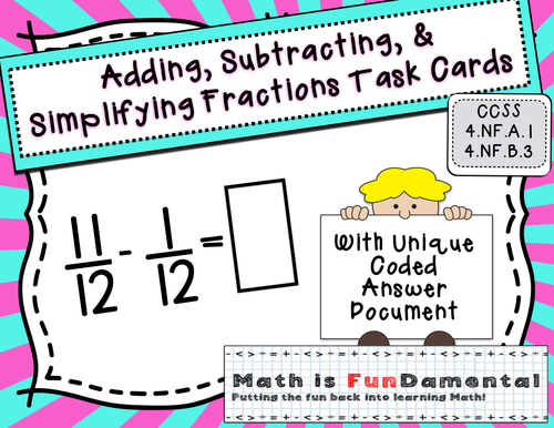 Adding, Subtracting & Simplifying Fractions Task Cards w/ Coded Joke Answer Document