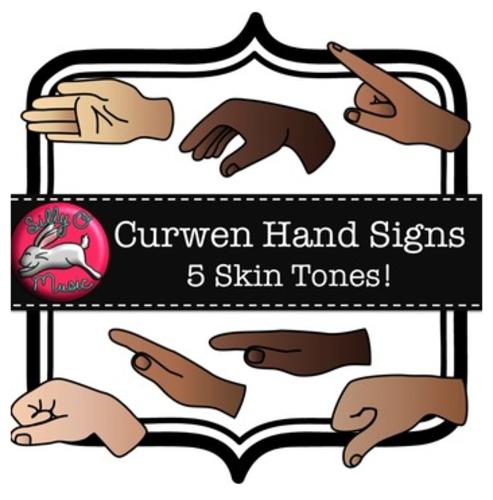 Curwen Hand Sign Clip Art, 5 Skin Tones