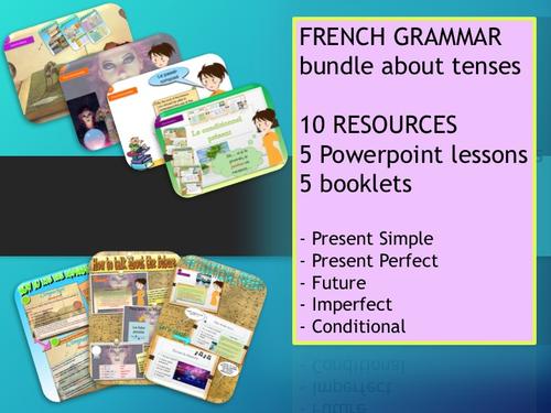 French Grammar Bundle all in one : Conditionnel / Imparfait / Présent simple / Futur et passé composé