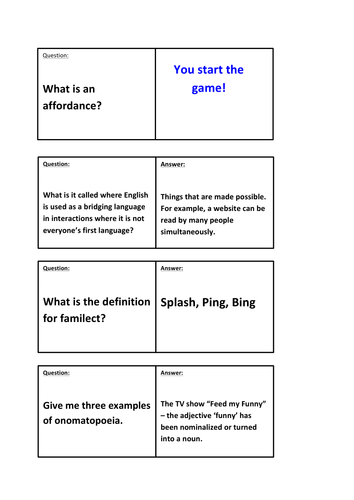 A Level English Language Key Terms Dominoes (Good Starter Activity or Revision Exercise)