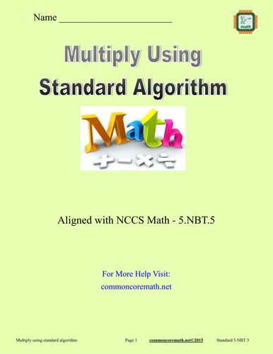 Multiply Using Standard Algorithm - 5.NBT.5