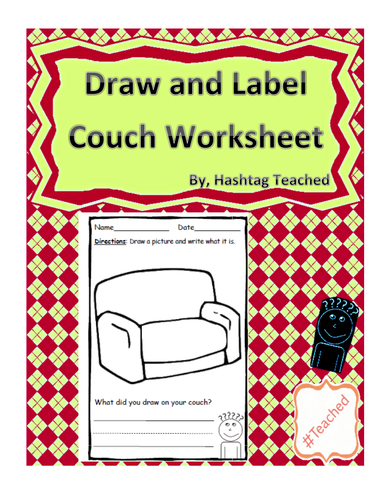 Draw and Label Couch Scene (Building Early Vocabulary)