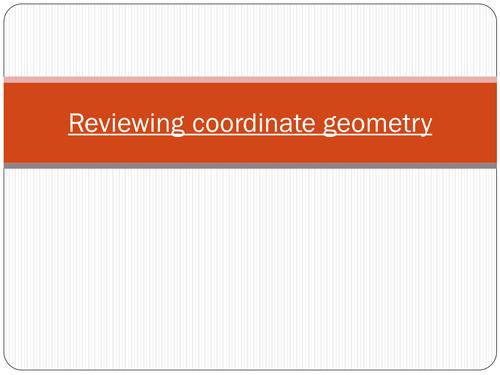 Reviewing coordinate geometry GCSE