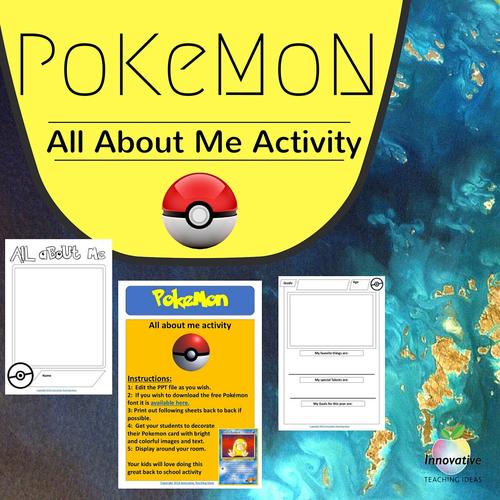 Pokémon Go: All About Me Editable Activity