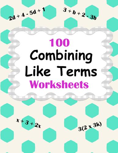 combining like terms worksheet pdf