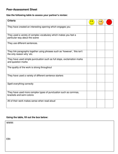 Review writing: Peer assessment grid