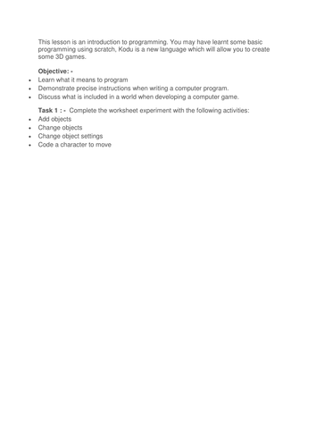 Kodu Lesson 1 : - Introducing programming (KS2/KS3)