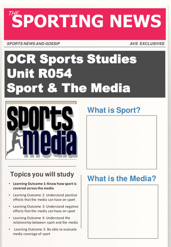 OCR Level 1/2 National Certificate in Sports Studies R054 Sport & The Media student booklet
