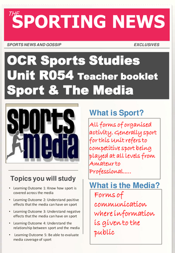 OCR Level 1/2 National Cerificate in Sports Studies R054 Sport & The Media Teacher booklet