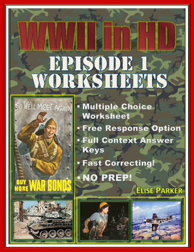 """WWII in HD Worksheets: Episode 1, """"Darkness Falls"""""""
