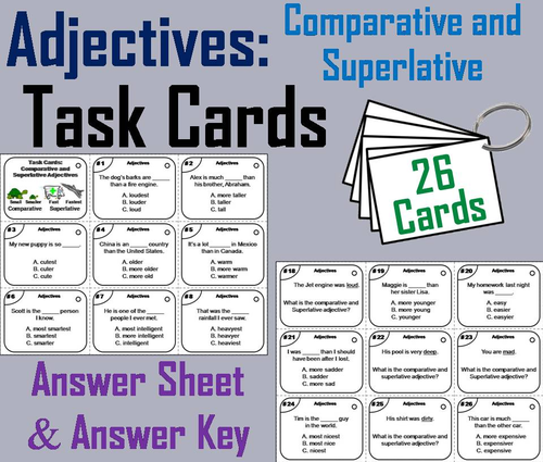Comparative and Superlative Adjectives Task Cards by ScienceSpot ...