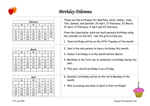 Birthday problem solving