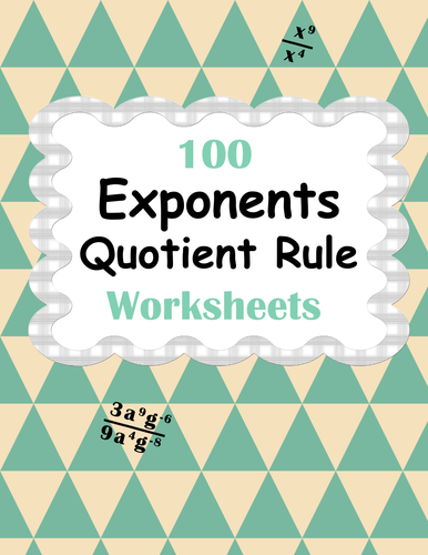 Exponents Worksheets Bundle Product Power Quotient