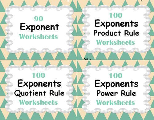 Exponents Worksheets Bundle Product Power Quotient Rule by – Product and Quotient Rule Worksheet