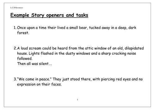 Example story openers and tasks by louisacarol - Teaching ...