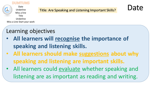 New Specification GCSE Speaking & Listening Assessment