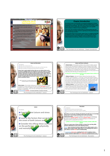 GCSE Revision for Leisure and Recreation