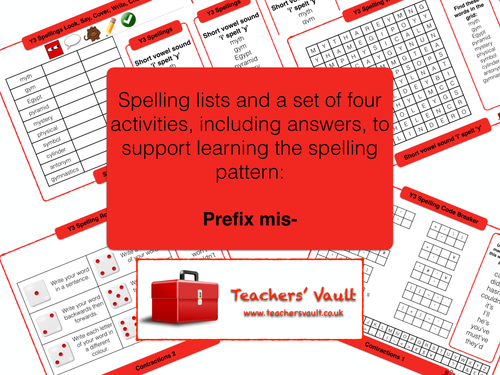Prefix mis- spelling activities