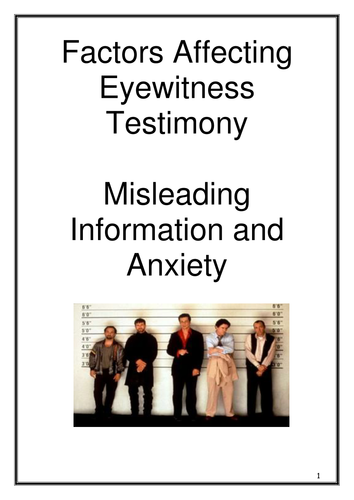Memory - Factors Affecting Eyewitness Testimony Workbook - New AQA 2015 Specification