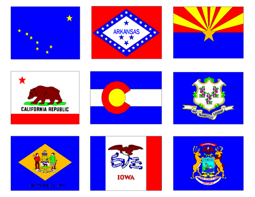 USA State Flags Clip Art