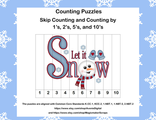 K-1 Counting Puzzles- Counting by 1's, 2's, 5's, and 10's-Let It Snow