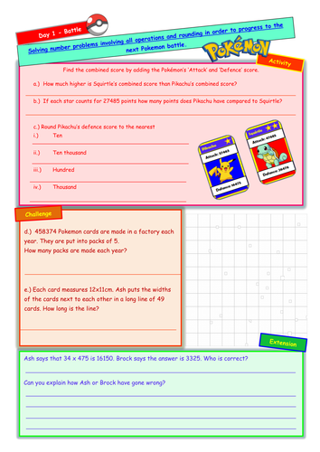 Pokemon themed worksheet involving all operations and rounding ...