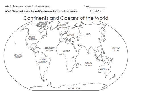 Continents And Oceans Worksheet Key Stage 1 Year 2