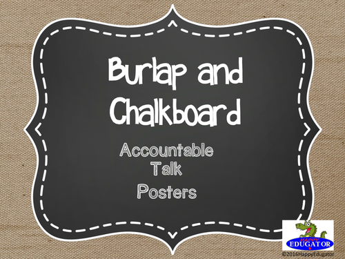 Accountable Talk Posters - Burlap and Chalkboard
