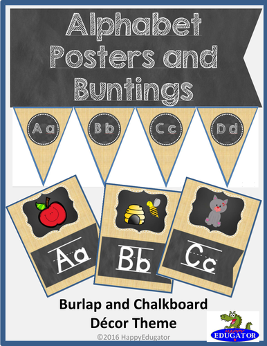 Alphabet Posters and Buntings - Burlap and Chalkboard