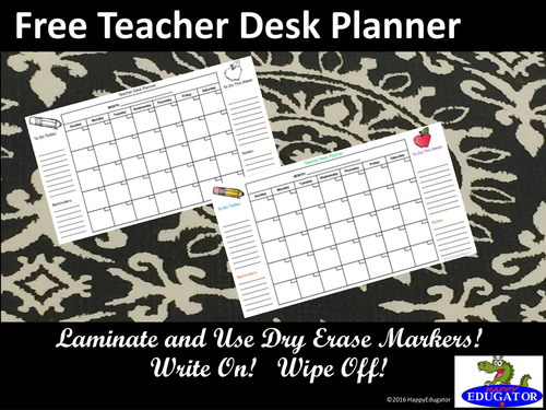 Free Teacher Desk Planner - Back to School Calendar