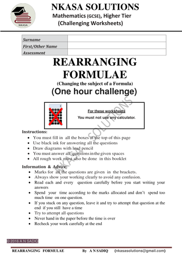 REARRANGING FORMULAE (Changing the subject of a Formula) for bright GCSE/A Level students