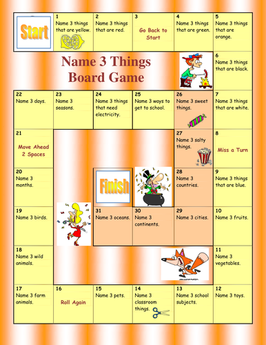 Name 3 things Board Game