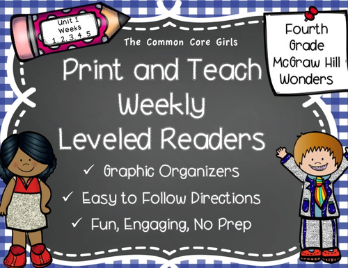 McGraw Hill Wonders 4th Grade Unit 1 Print and Teach Leveled Readers