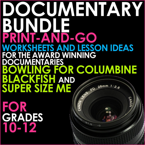 DOCUMENTARY BUNDLE - Lessons for BLACKFISH, BOWLING FOR COLUMBINE and SUPER SIZE ME