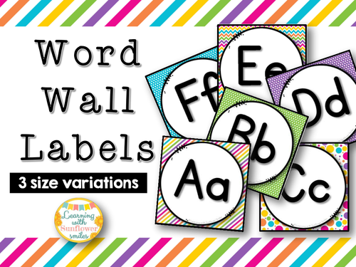 Word Wall Labels - Bright and Colorful