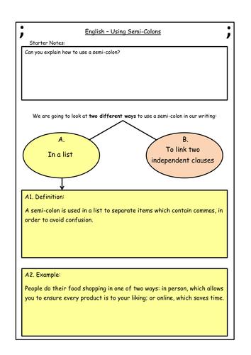 Semi Colons Worksheet