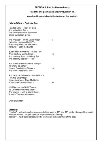 Unseen Poetry Mock Exam - Edexcel