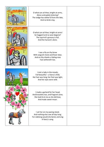 Poetry (La Belle Dame Sans Merci) Worksheet