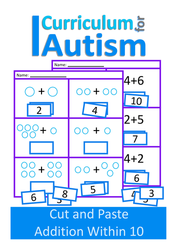 Printables Special Education Math Worksheets curriculumforautisms shop teaching resources tes cut and paste addition 1 10 maths worksheets autism special education