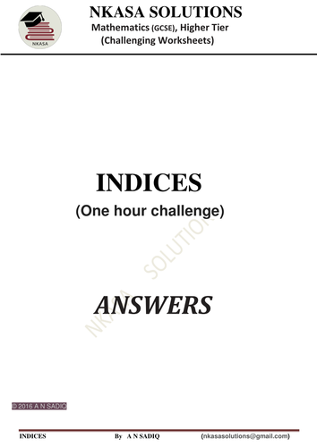 INDICES ,INDEX,POWERS,one hour challenge for hardworking and  bright GCSE  / A Level students