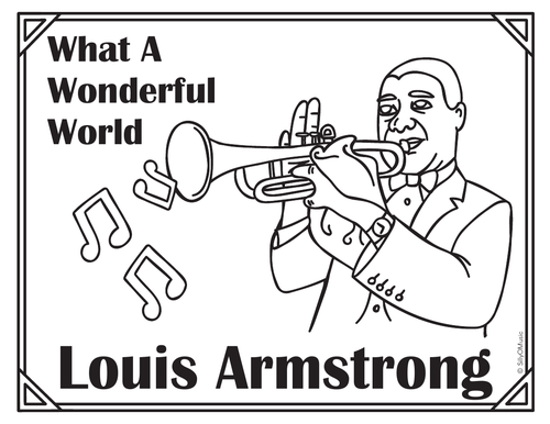 Louis Armstrong What A Wonderful World Coloring Page By