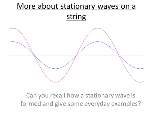 Physics A-Level Year 1 Lesson - More about Stationary Waves  (PowerPoint AND lesson plan)
