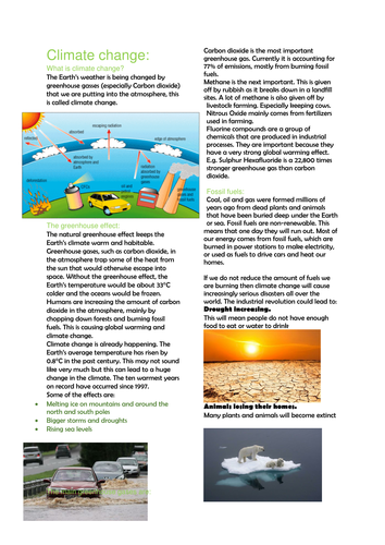 Information on climate change and global warming