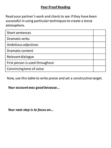 English Language Peer and Self Assessment Sheets