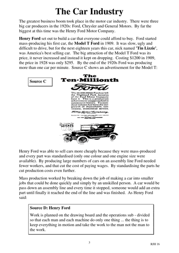 Henry Ford & the Boom Worksheets