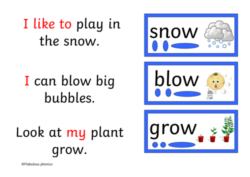decodable book 7 pages long Phonics Year 1 RWI st 2 sound 'ow' blow the snow
