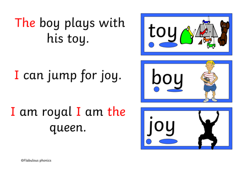 Decodable book RWI set 2 sound 'oy' 7 pages. Words/ sound buttons & common exception words Year 1