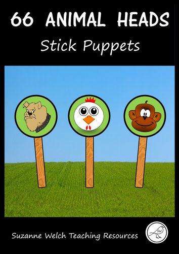 Stick Puppets  -  ANIMALS  (HEADS ONLY)  -   66 puppets